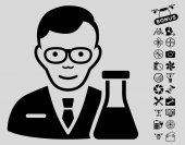 Chemist icon with bonus copter tools clip art Vector illustration style is flat iconic black symbols on light gray background