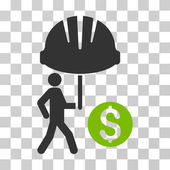 Industrial Financial Coverage icon Vector illustration style is flat iconic bicolor symbol eco green and gray colors transparent background Designed for web and software interfaces