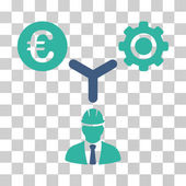 Euro Development Relations icon Vector illustration style is flat iconic bicolor symbol cobalt and cyan colors transparent background Designed for web and software interfaces