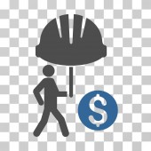 Industrial Financial Coverage icon Vector illustration style is flat iconic bicolor symbol cobalt and gray colors transparent background Designed for web and software interfaces