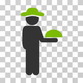 Gentleman Waiter icon Vector illustration style is flat iconic bicolor symbol eco green and gray colors transparent background Designed for web and software interfaces