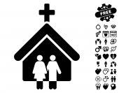 Family Church icon with bonus decorative clip art Vector illustration style is flat iconic black symbols on white background