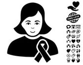 Girl With Sympathy Ribbon icon with bonus dating clip art Vector illustration style is flat iconic black symbols on white background