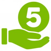 Five Cents Payment Hand vector pictograph Illustration style is a flat iconic eco green symbol on white background