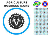 Beef Certificate Seal Rounded Icon with Set