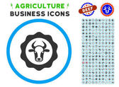 Beef Certificate Rounded Icon with Set