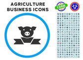 Pork Award Ribbon rounded icon with agriculture business glyph kit Vector illustration style is a flat iconic symbol inside a circle blue and gray colors Designed for web and software interfaces