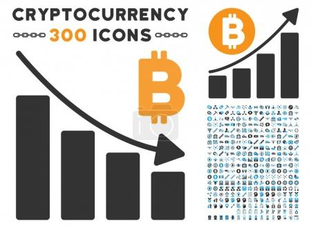 Illustration for Bitcoin Recession Bar Chart pictograph with 300 blockchain, bitcoin, ethereum, smart contract graphic icons. Vector clip art style is flat iconic symbols. - Royalty Free Image