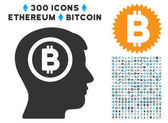 Bitcoin Thinking Head Flat Icon with Collection