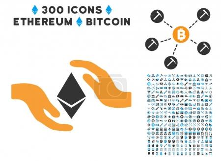 Ethereum Care Hands Flat Icon with Set