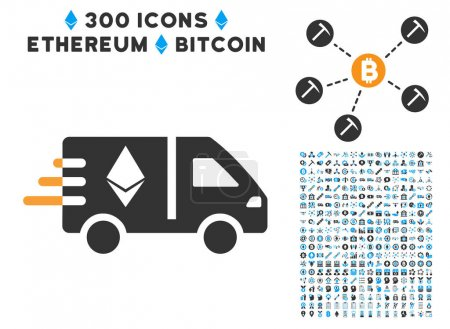 Ethereum Fast Delivery Car Flat Icon with Set