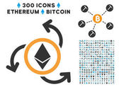 Ethereum Source Swirl Flat Icon with Collection