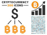 Dollar Bitcoin Links Flat Icon with Collection