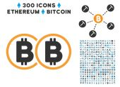 Double Bitcoin Flat Icon with Set
