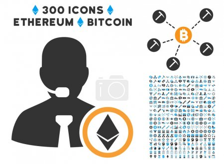 Ethereum Operator Manager Flat Icon with Set