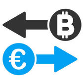 Euro Bitcoin Exchange vector pictogram Style is flat graphic symbol