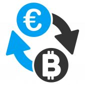 Euro Bitcoin Exchange Coins vector pictogram Style is flat graphic symbol
