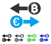 Euro Bitcoin Exchange vector pictograph Style is a flat graphic symbol in black gray blue green color versions Designed for web and mobile apps