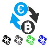 Euro Bitcoin Exchange Coins vector icon Style is a flat graphic symbol in black gray blue green color versions Designed for web and mobile apps