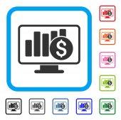 Stock Market Monitoring Framed Icon