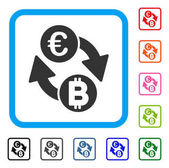 Euro Bitcoin Exchange Coins icon Flat gray pictogram symbol inside a light blue rounded squared frame Black gray green blue red