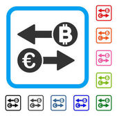 Euro Bitcoin Exchange icon Flat grey iconic symbol inside a light blue rounded frame Black gray green blue red orange color versions of Euro Bitcoin Exchange vector