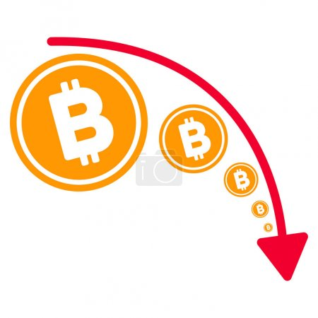 Illustration for Bitcoin Reduce Trend flat vector pictograph. An isolated illustration on a white background. - Royalty Free Image