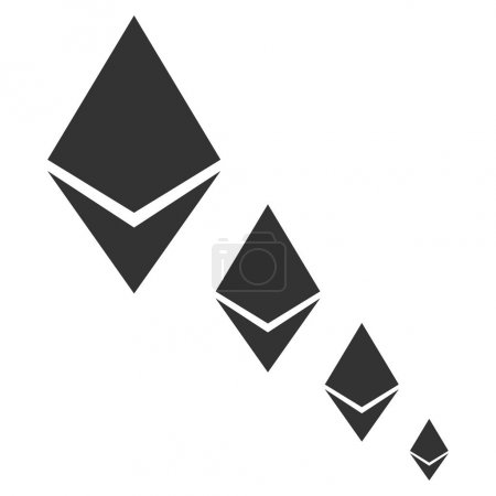 Illustration for Ethereum Crystal Defaltion flat vector icon. An isolated illustration on a white background. - Royalty Free Image