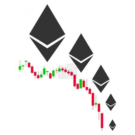 Illustration for Ethereum Deflation Chart flat vector pictogram. An isolated illustration on a white background. - Royalty Free Image