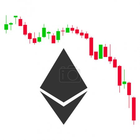 Illustration for Ethereum Fall Chart flat vector pictograph. An isolated illustration on a white background. - Royalty Free Image