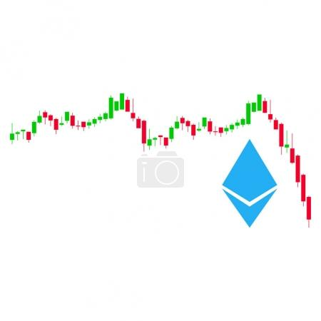 Illustration for Ethereum Falling Chart flat vector pictograph. An isolated illustration on a white background. - Royalty Free Image