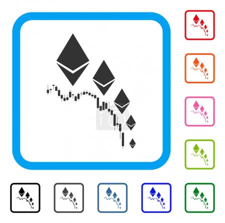 Illustration for Ethereum Deflation Chart icon. Flat gray pictogram symbol inside a blue rounded rectangular frame. Black, gray, green, blue, red, orange color variants of Ethereum Deflation Chart vector. - Royalty Free Image