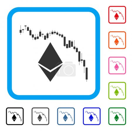 Illustration for Ethereum Fall Chart icon. Flat grey iconic symbol inside a blue rounded square. Black, gray, green, blue, red, orange color additional versions of Ethereum Fall Chart vector. - Royalty Free Image