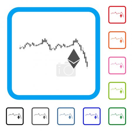 Illustration for Ethereum Falling Chart icon. Flat grey iconic symbol in a blue rounded squared frame. Black, gray, green, blue, red, orange color variants of Ethereum Falling Chart vector. - Royalty Free Image