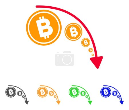 Illustration for Bitcoin Reduce Trend icon. Vector illustration style is a flat iconic bitcoin reduce trend symbol with gray, green, blue, yellow color variants. Designed for web and software interfaces. - Royalty Free Image