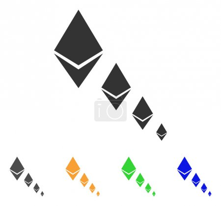 Illustration for Ethereum Crystal Defaltion icon. Vector illustration style is a flat iconic ethereum crystal defaltion symbol with grey, green, blue, yellow color versions. Designed for web and software interfaces. - Royalty Free Image