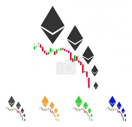 Illustration for Ethereum Deflation Chart icon. Vector illustration style is a flat iconic ethereum deflation chart symbol with grey, green, blue, yellow color variants. Designed for web and software interfaces. - Royalty Free Image