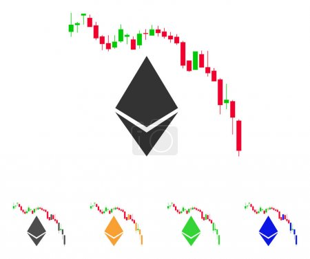 Illustration for Ethereum Fall Chart icon. Vector illustration style is a flat iconic ethereum fall chart symbol with grey, green, blue, yellow color variants. Designed for web and software interfaces. - Royalty Free Image
