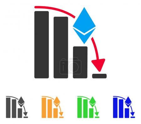 Illustration for Ethereum Falling Acceleration Chart icon. Vector illustration style is a flat iconic ethereum falling acceleration chart symbol with gray, green, blue, yellow color variants. - Royalty Free Image