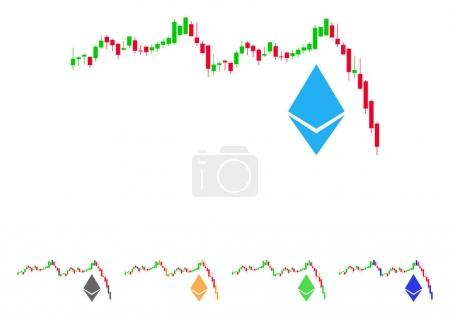 Illustration for Ethereum Falling Chart icon. Vector illustration style is a flat iconic ethereum falling chart symbol with gray, green, blue, yellow color variants. Designed for web and software interfaces. - Royalty Free Image