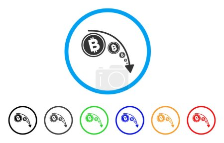 Illustration for Bitcoin Reduce Trend rounded icon. Style is a flat grey symbol inside light blue circle with bonus color variants. Bitcoin Reduce Trend vector designed for web and software interfaces. - Royalty Free Image