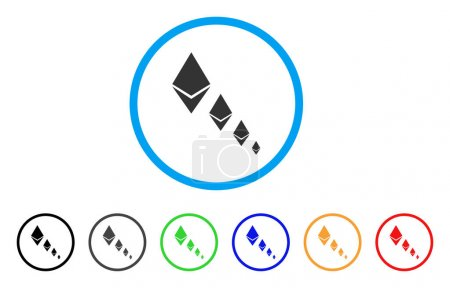 Illustration for Ethereum Crystal Defaltion rounded icon. Style is a flat gray symbol inside light blue circle with bonus color versions. Ethereum Crystal Defaltion vector designed for web and software interfaces. - Royalty Free Image