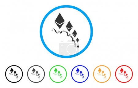 Illustration for Ethereum Deflation Chart rounded icon. Style is a flat gray symbol inside light blue circle with additional color variants. Ethereum Deflation Chart vector designed for web and software interfaces. - Royalty Free Image