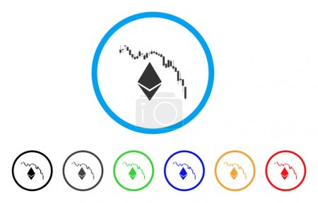 Illustration for Ethereum Fall Chart rounded icon. Style is a flat gray symbol inside light blue circle with bonus colored versions. Ethereum Fall Chart vector designed for web and software interfaces. - Royalty Free Image