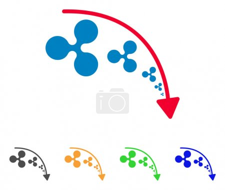 Illustration for Ripple Reduce Trend icon. Vector illustration style is a flat iconic ripple reduce trend symbol with grey, yellow, green, blue color variants. Designed for web and software interfaces. - Royalty Free Image