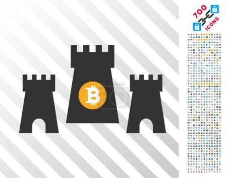 Bitcoin Fortress Flat Icon with Bonus