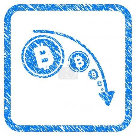 Illustration for Bitcoin Reduce Trend rubber seal stamp imitation. Icon vector symbol with grunge design and corrosion texture in rounded square frame. Scratched blue sticker on a white background. - Royalty Free Image