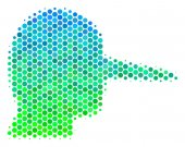 Halftone Blue-Green Lier Icon