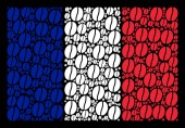France Flag Collage of Coffee Bean Icons