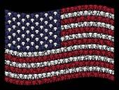 Waving United States Flag Stylization of Champignon Mushroom Icons